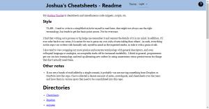 Cheatsheet Gatsby Site - Joshuatz