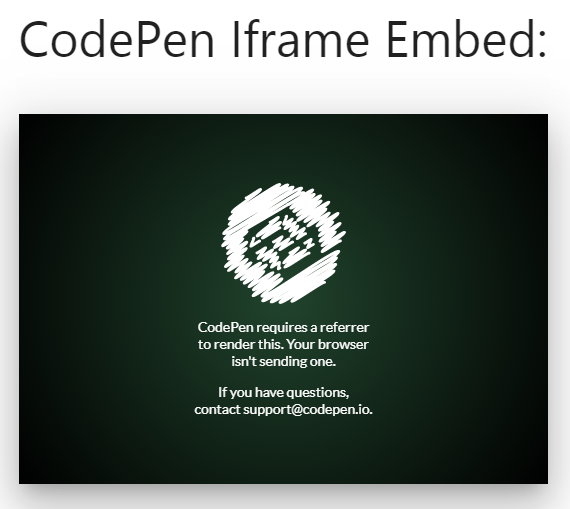 CodePen IFrame Result Embed - Blocking External Referrers