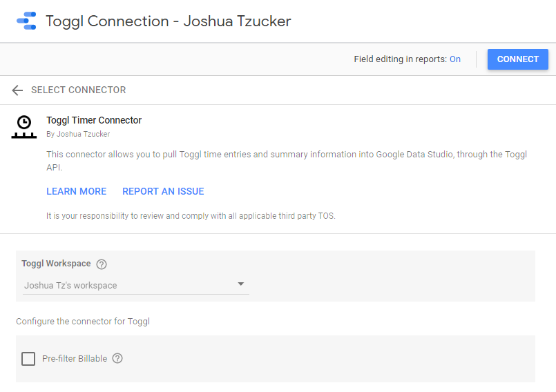 Google Data Studio - Toggl Connector - Installation Page