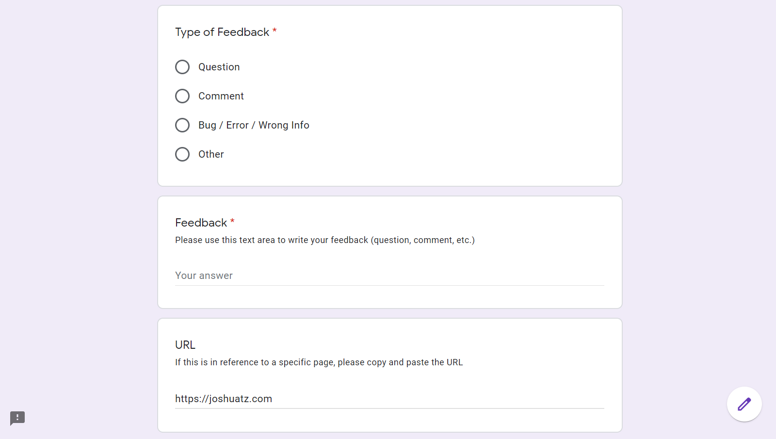 Sample Google Form for Collecting User Responses