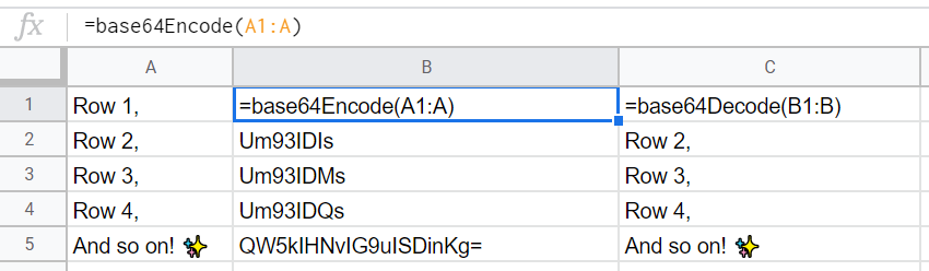 Google Sheets - Base64 Encoding with Array of Cells