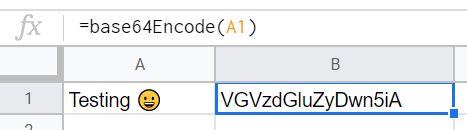 Google Sheets Base64 Encoding with Emoji UTF Input