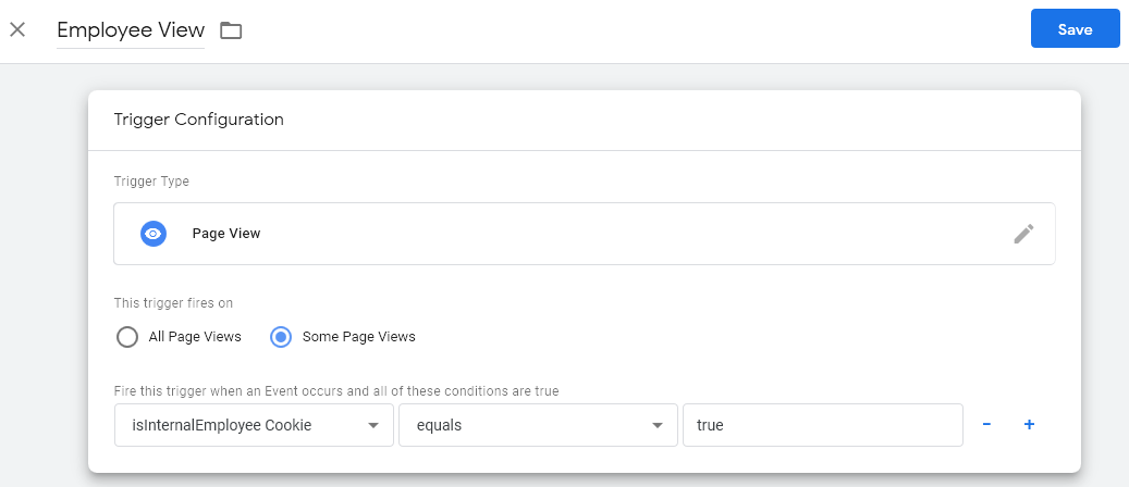 Google Tag Manager - Employee Pageview Trigger - To Be Used As Exception Trigger