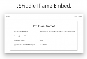 JSFiddle IFrame Embed - Result Only - Top Bar Included