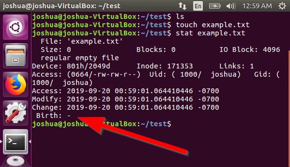 Linux Ubuntu - File Stat Birthtime Unavailable