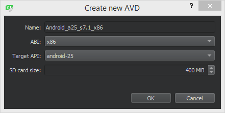 QT Creator - GUI for Creating a new AVD targeting android-25