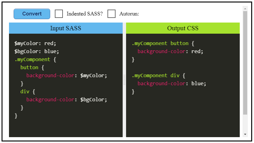 Sass-Embed: Dynamic embedded SASS/SCSS-to-CSS Playground