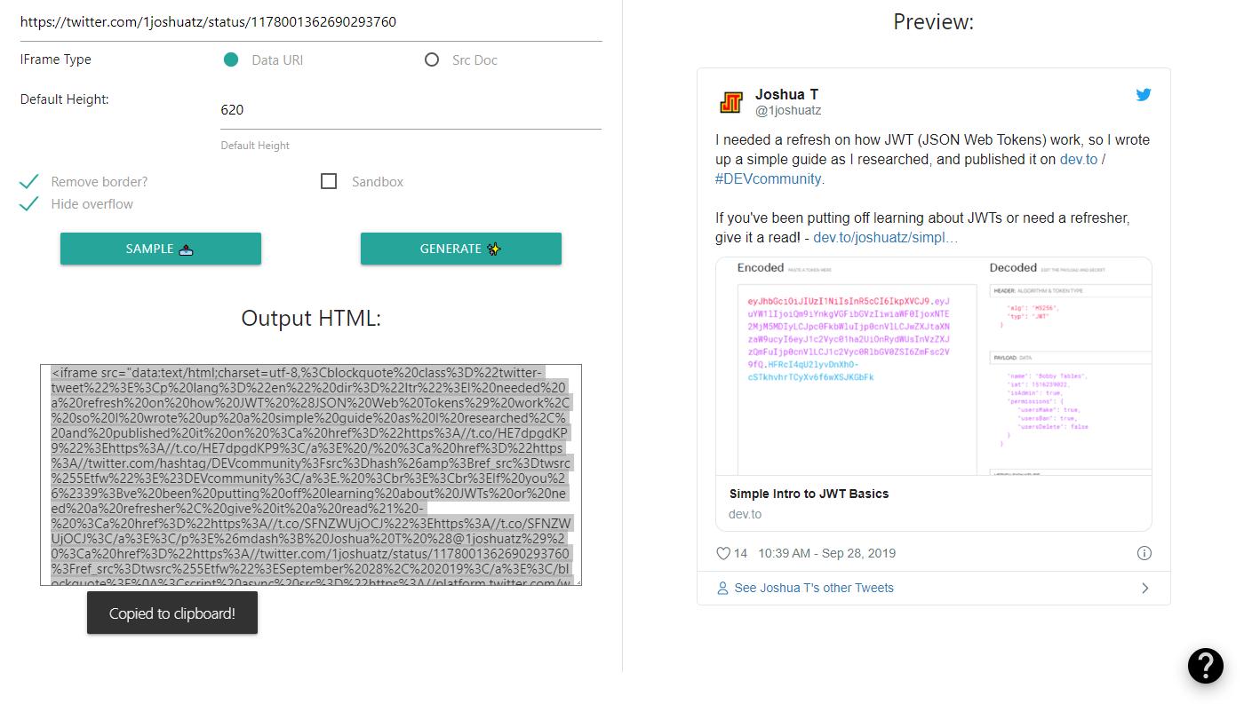 Twitter IFrame Embed Generator - Demo Screenshot