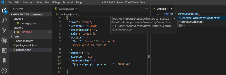 VSCode - Google Data Studio Connector - Using Google-Apps-Script Type Definition