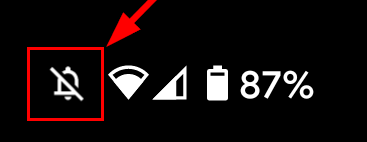 Android's icon for completely silent ringer, with vibration off, in status bar